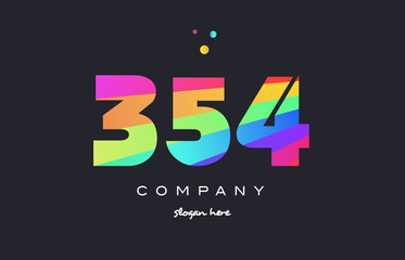 354 colored rainbow creative number digit numeral logo icon