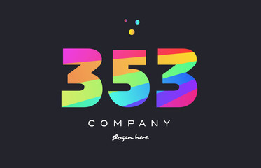 353 colored rainbow creative number digit numeral logo icon