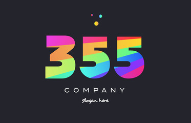 355 colored rainbow creative number digit numeral logo icon