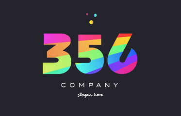 356 colored rainbow creative number digit numeral logo icon
