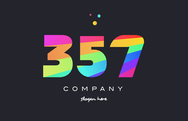 357 colored rainbow creative number digit numeral logo icon