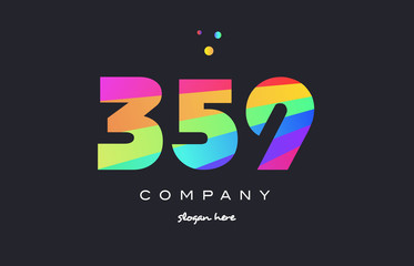 359 colored rainbow creative number digit numeral logo icon