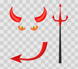 Devil horns, trident, eyes and tail isolated on transparent checkered background. illustration.