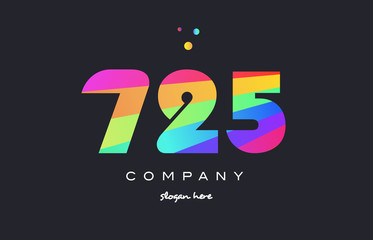 725 colored rainbow creative number digit numeral logo icon