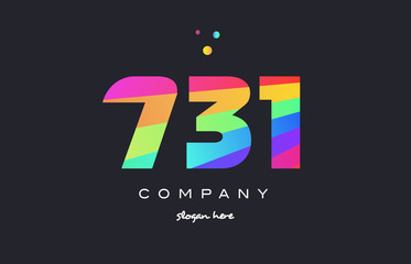 731 colored rainbow creative number digit numeral logo icon