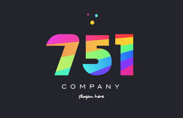 751 colored rainbow creative number digit numeral logo icon