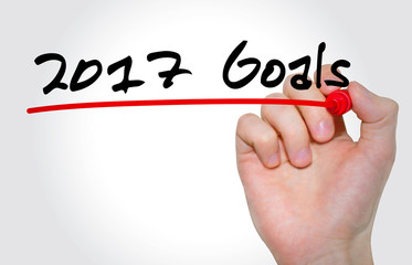 Hand writing inscription 2017 Goals with marker, concept