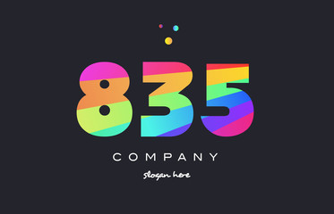835 colored rainbow creative number digit numeral logo icon