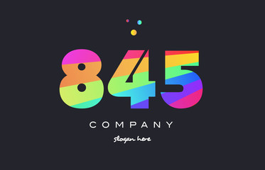 845 colored rainbow creative number digit numeral logo icon