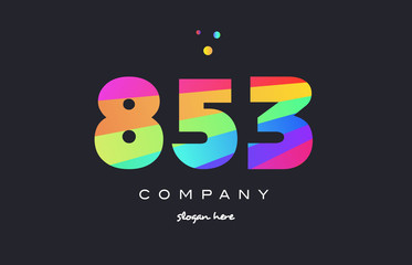 853 colored rainbow creative number digit numeral logo icon