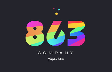 863 colored rainbow creative number digit numeral logo icon
