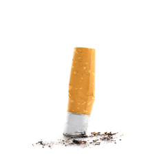 Cigarette butt on white background