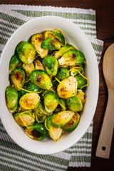 Photo sur Aluminium Bruxelles Brussels Sprouts Cabbage With Lemon. Selective focus.
