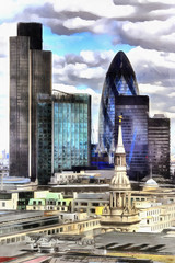 Colorful painting of London City view