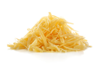 Pile of grated cheese on white background