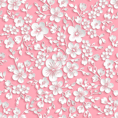 Vector red sakura flower seamless pattern element. Elegant texture for backgrounds. 3D elements with shadows and highlights. Paper cut. Cherry blossom