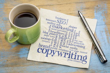 copywriting word cloud on napkin