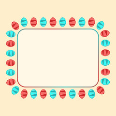 Rectangle frame with red and blue easter eggs