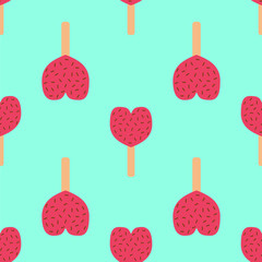 fruit ice cream seamless pattern vector illustration background icon heart isolated cartoon dessert sweet cold snack tasty frozen candy delicious