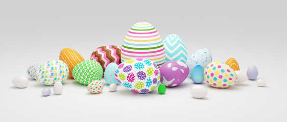 Pile of colorful Easter eggs 3d