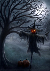 Creepy Halloween Scenery with a Scarecrow - Digital Painting