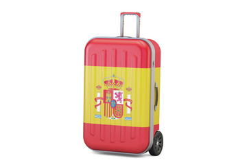 Spain travel concept, suitcase with Spanish flag. 3D rendering