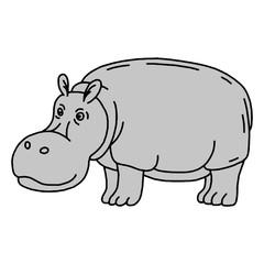 Cartoon animal, cute hippo on green backgrounds.