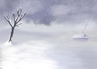 White Winter World - Digital Painting
