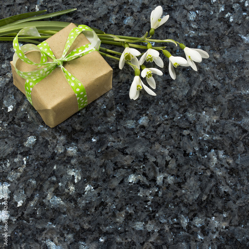snowdrop flowers and gift box on emerald pearl granite worktop photo libre de droits sur la. Black Bedroom Furniture Sets. Home Design Ideas