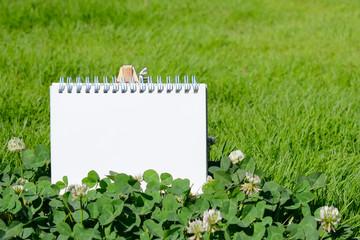 スケッチブックとクローバーの花