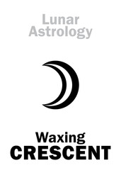 Astrology Alphabet: Waxing CRESCENT (Moon increase). Hieroglyphics character sign (single symbol).