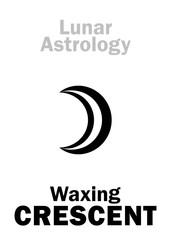 Astrology Alphabet: Waxing CRESCENT (Moon increase). Hieroglyphics character sign (single symbol).