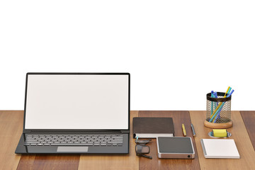 Office desk with notebook glasses keyboard coffee cup and phone on wood background.3D illustration.