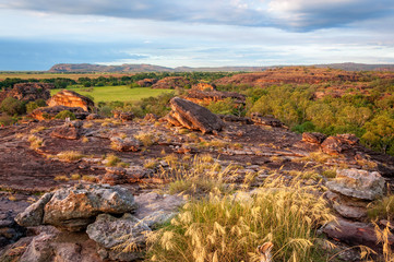 Ubirr Rock is a sacred aboriginal site in Kakadu National Park, Northern Territory, Australia. Rocky Escarpment characterizes a large part of Kakadu.
