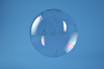 Bubble globe on blue background include path.3D illustration.