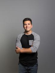 Studio portrait of a prideful young man