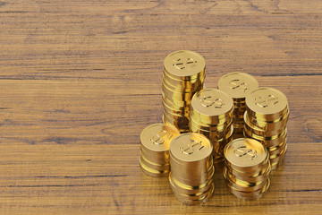 Gold coins on white wood board.3D illustration