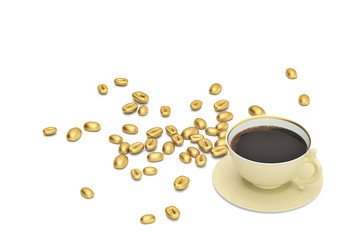 Golden coffee beans with coffee on white background.3D illustration.