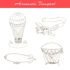 Set of  hand drawn aeronautic transport. Vector icons isolated on white.