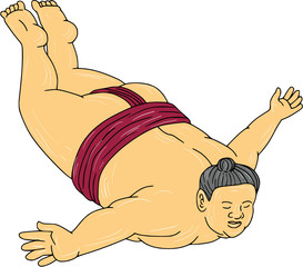 Japanese Sumo Wrestler Skydiving Drawing