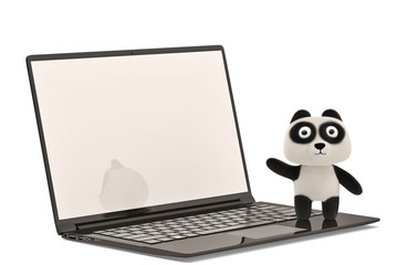 A laptop and cartoon panda on white background.3D illustration.