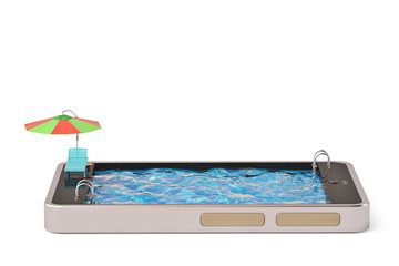 Mobile phone concept touchscreen smart phone with swimming pool.3D illustration.