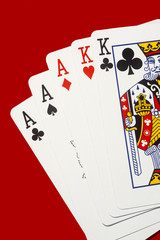 Three Aces Two kings Poker Playing Cards Copyspace.