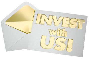Invest with Us Invitation Envelope 3d Illustration