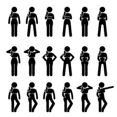 Basic Woman Standing Postures and Poses. Artworks depict a female human standing in various positions with different body languages.
