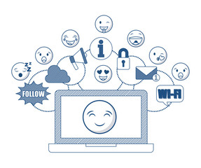 laptop computer with cartoon faces around over white background. vector illustration