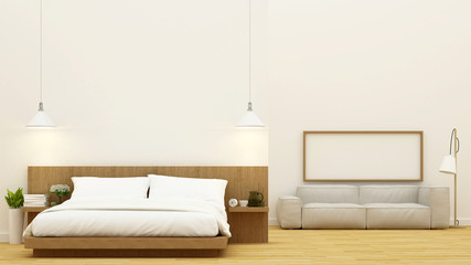 bedroom and living room clean design - 3d Rendering