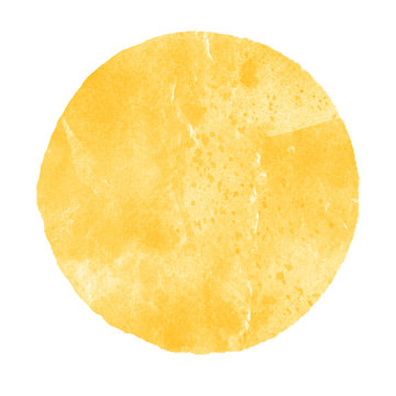 Watercolor yellow circle on white background