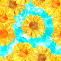 Seamless pattern, golden toned sunflowers on turquoise