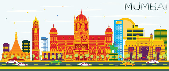 Mumbai Skyline with Color Buildings and Blue Sky.